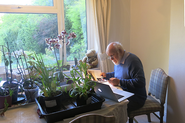 Doug Nye at home amongst the foliage, proofreading Volume 2